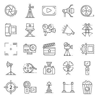 Conjunto de iconos de producción de película, estilo de contorno