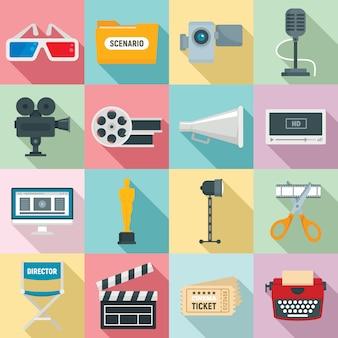 Conjunto de iconos de producción de película, estilo plano