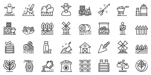 Conjunto de iconos de productor, estilo de contorno
