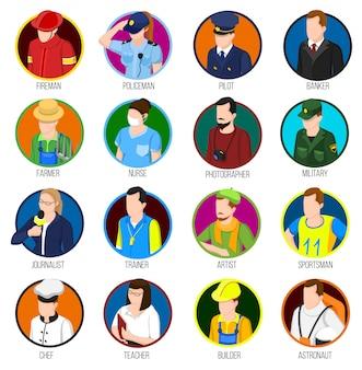Conjunto de iconos de las profesiones de avatar