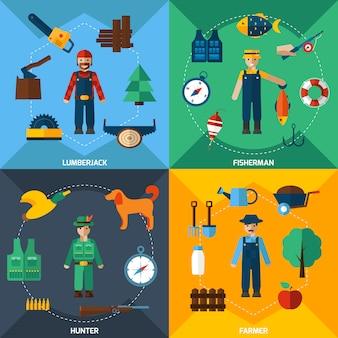 Conjunto de iconos de las profesiones de gestión de la naturaleza
