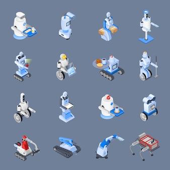 Conjunto de iconos de las profesiones de robot
