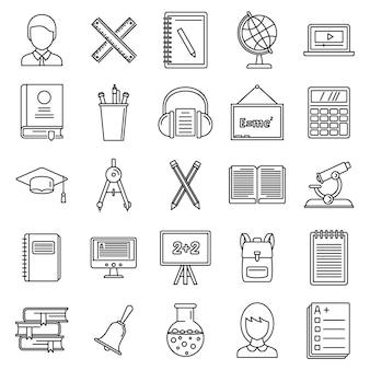 Conjunto de iconos de profesor de lección