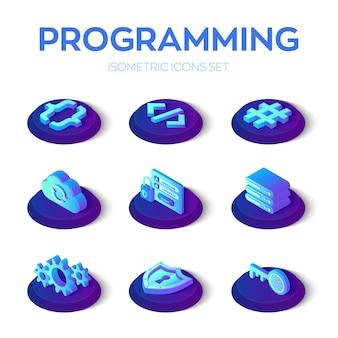 Conjunto de iconos de programación y desarrollo