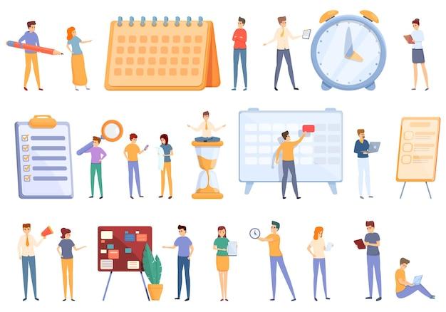 Conjunto de iconos de programación de tareas. conjunto de dibujos animados de iconos de programación de tareas