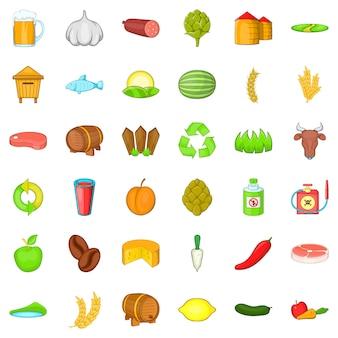 Conjunto de iconos de propiedad de agricultura, estilo de dibujos animados