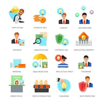 Conjunto de iconos de propiedad intelectual