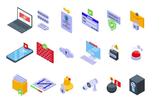 Conjunto de iconos de protección de contraseña. conjunto isométrico de iconos de vector de protección de contraseña para diseño web aislado sobre fondo blanco