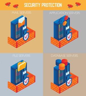 Conjunto de iconos de protección de seguridad isométrica de vector