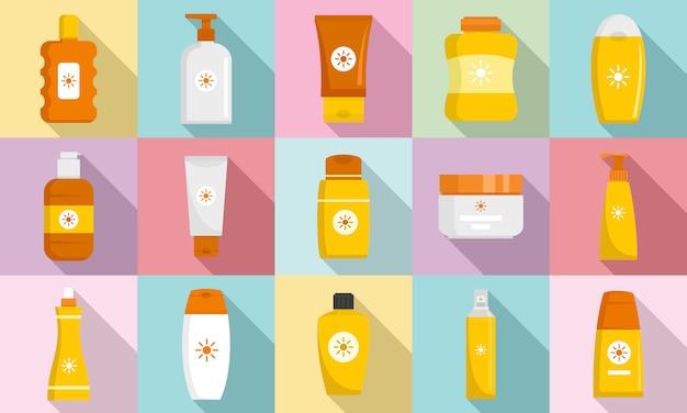 Conjunto de iconos de protección solar cosmética