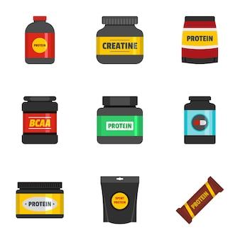 Conjunto de iconos de proteínas, estilo plano