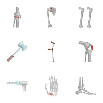Conjunto de iconos de prótesis, estilo de dibujos animados