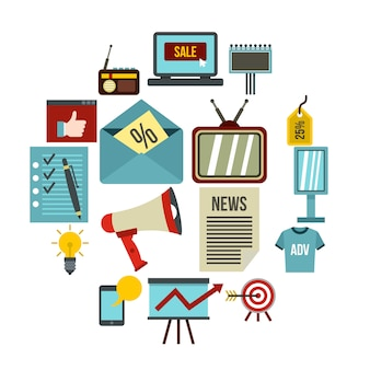 Conjunto de iconos de publicidad, estilo plano