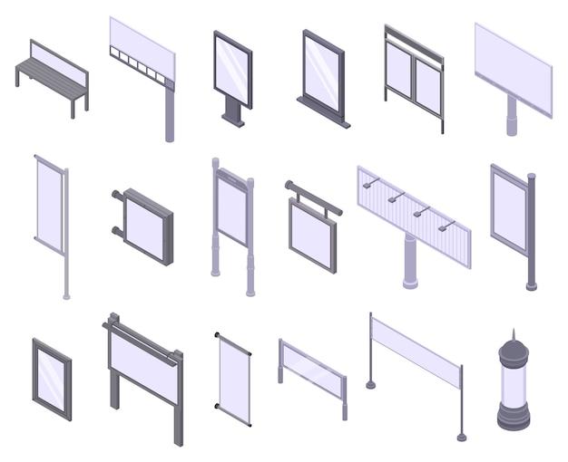 Conjunto de iconos de publicidad exterior, estilo isométrico.