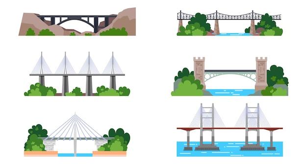 Conjunto de iconos de puente aislado