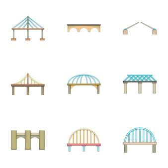 Conjunto de iconos de puente, estilo de dibujos animados