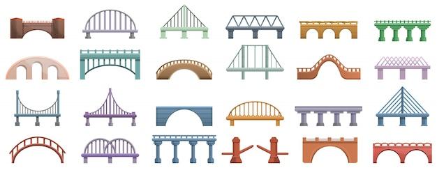 Conjunto de iconos de puentes, estilo de dibujos animados