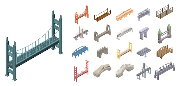Conjunto de iconos de puentes, estilo isométrico.
