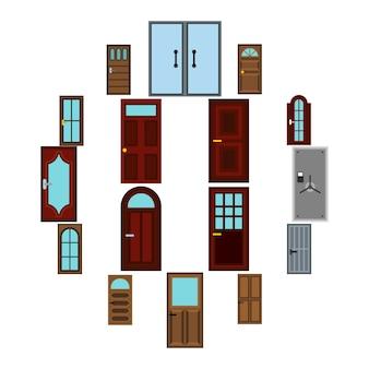 Conjunto de iconos de puerta, estilo plano