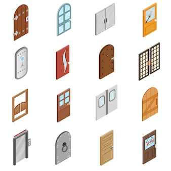 Conjunto de iconos de puertas