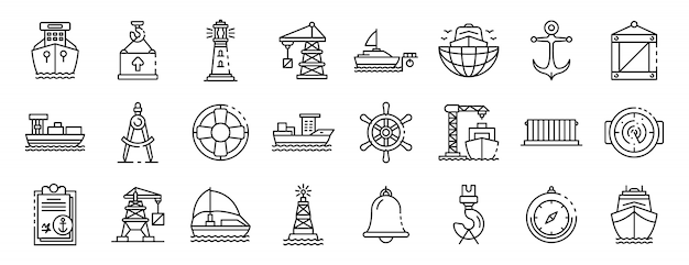 Conjunto de iconos de puerto marino, estilo de contorno