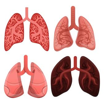 Conjunto de iconos de pulmón