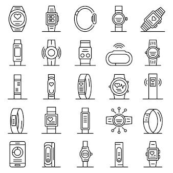 Conjunto de iconos de pulsera fitness, estilo de contorno