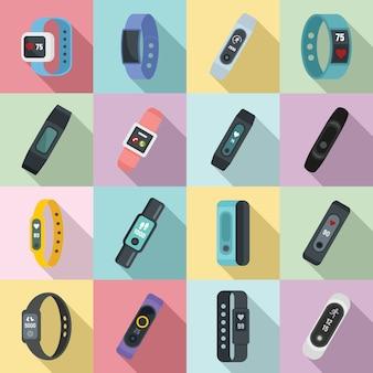 Conjunto de iconos de pulsera fitness