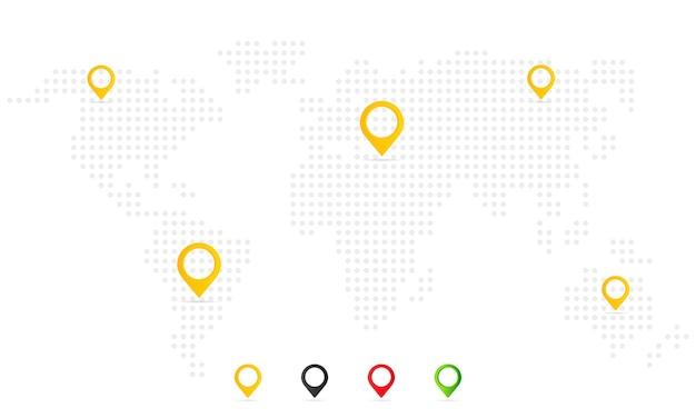 Conjunto de iconos de puntero de mapa. pin geo, icono de ubicación o geolocalización, gps en el mapa mundial. sobre fondo blanco aislado. vector eps 10.
