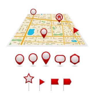 Conjunto de iconos de puntero de mapa de pines