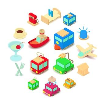 Conjunto de iconos de puntos de interés, estilo de dibujos animados