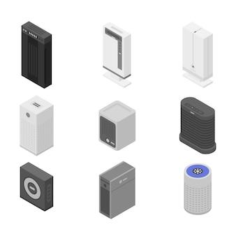 Conjunto de iconos de purificador de aire, estilo isométrico