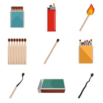 Conjunto de iconos de quemar ignición partido de seguridad vector aislado