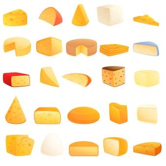 Conjunto de iconos de queso, estilo de dibujos animados