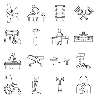 Conjunto de iconos de quiropráctico médico