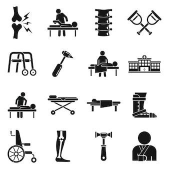 Conjunto de iconos de quiropráctico