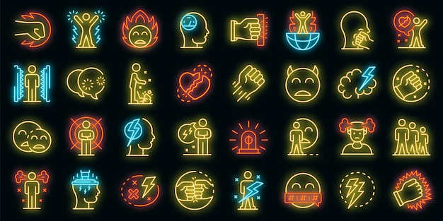 Conjunto de iconos de rabia. esquema conjunto de iconos de vector de rabia color neón en negro