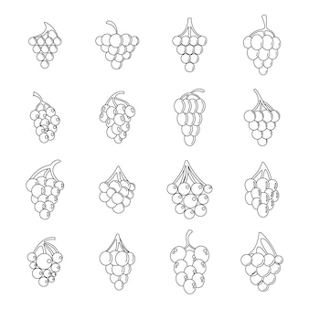 Conjunto de iconos de racimo de vino de uva