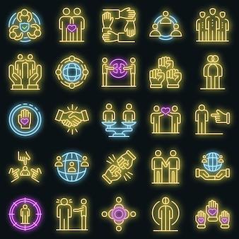 Conjunto de iconos de racismo. esquema conjunto de iconos de vector de racismo color neón en negro