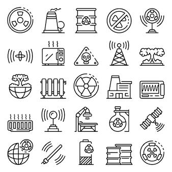 Conjunto de iconos de radiación, estilo de contorno