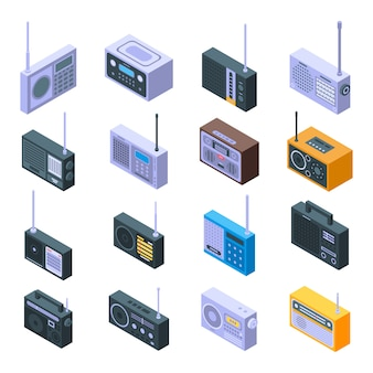 Conjunto de iconos de radio, estilo isométrico