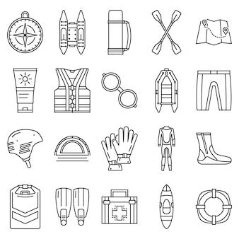 Conjunto de iconos de rafting. esquema conjunto de iconos de vector de rafting