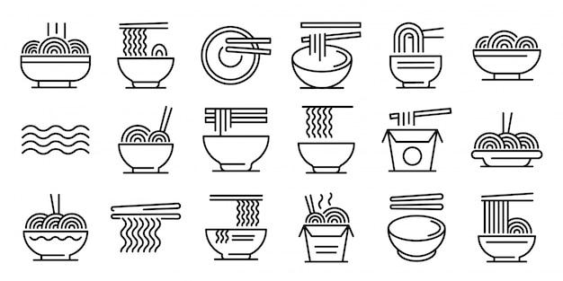 Conjunto de iconos de ramen, estilo de contorno