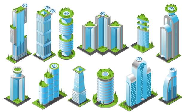 Conjunto de iconos de rascacielos futuristas isométricos con diferentes estilos de edificios de oficinas de alturas y formas