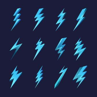 Conjunto de iconos de rayo