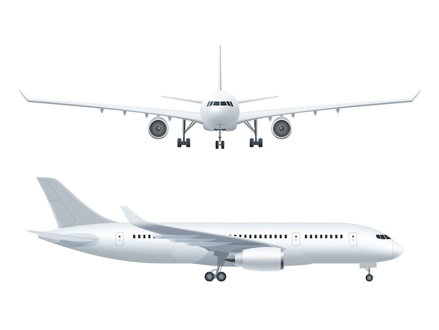 Conjunto de iconos realista de avión