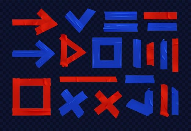 Conjunto de iconos realistas de cinta adhesiva adhesiva azul roja, se ven como diferentes formas, triángulo, flecha, círculo, por ejemplo
