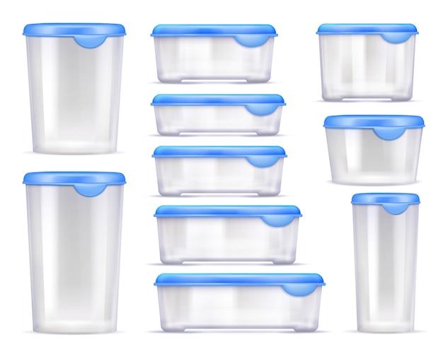 Conjunto de iconos realistas de contenedores de alimentos