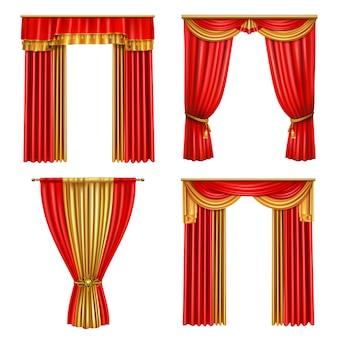 Conjunto de iconos realistas de cuatro cortinas de lujo diferentes para la decoración de la ilustración de teatro de eventos de ópera