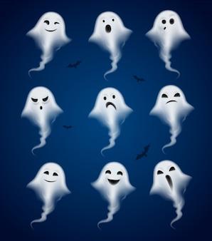 Conjunto de iconos realistas de emociones fantasma